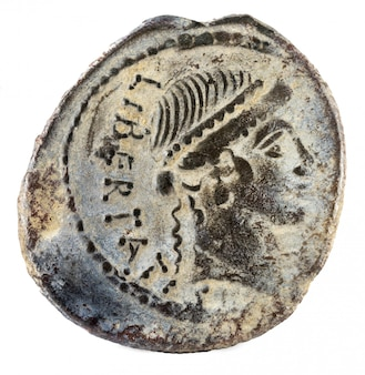 Romeinse republiek munt. oud-romeins zilver denarius van de familie lollia.