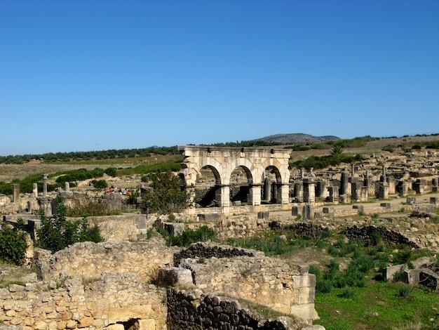Romeinse ruïnes in volubilis, marokko
