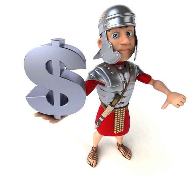 Romeinse soldaat met een dollarteken