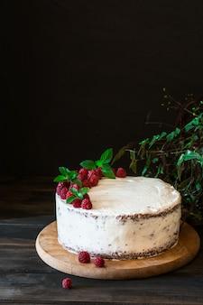 Romige fruitcake. raspberry cake chocolade. chocoladetaart. mint decor. cheesecake. zwart
