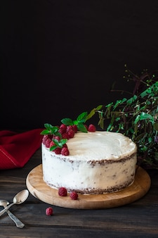 Romige fruitcake. raspberry cake met chocolade. chocoladetaart. cheesecake. zwarte woud