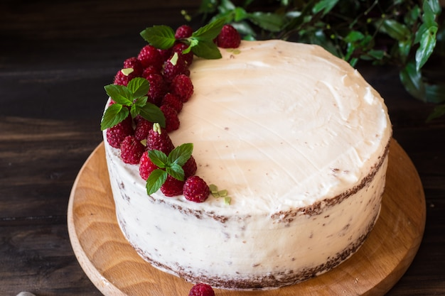 Romige fruitcake. raspberry cake met chocolade. chocoladetaart. mint decor. cheesecake.