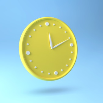 Rond horloge. gele klok en blauw