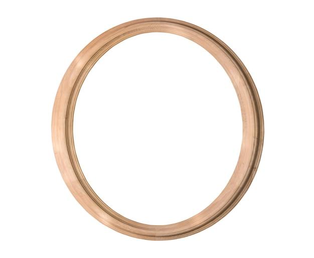 Rond houten frame dat op wit wordt geïsoleerd