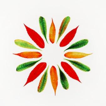 Rond kader in een patroon van kleurrijke de herfstbladeren met exemplaarruimte