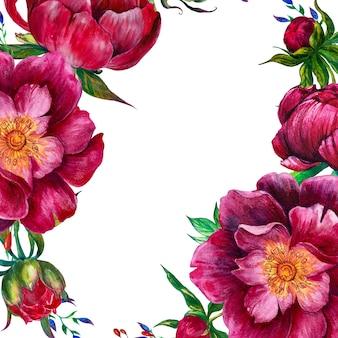 Rond kader met waterverfpioenen en grafische bloemen