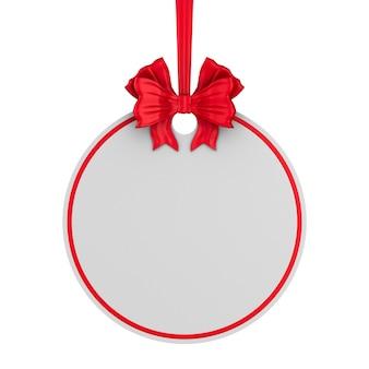 Rond kerstmisetiket met rood lint en boog op wit.