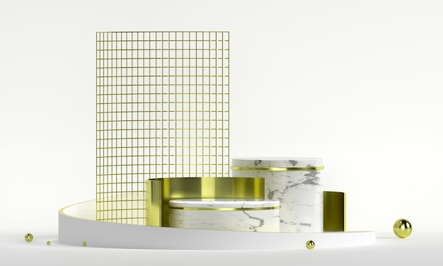 Rond podium met geometrische vormen en gouden elementen. abstract leeg voetstuk, platform voor product.