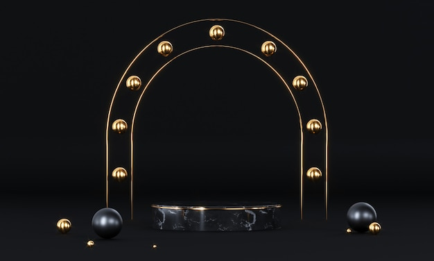 Rond podium met geometrische vormen en gouden elementen. abstract leeg voetstuk, vertoningsplatform.