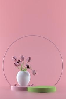 Rond podium op roze pastel. elegante witte vaas met bloemen op ronde sokkel. 3d render illustratie.