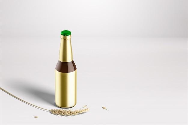 Ronde fles met blanco goudfolie label geïsoleerd. bier fiesta-concept.
