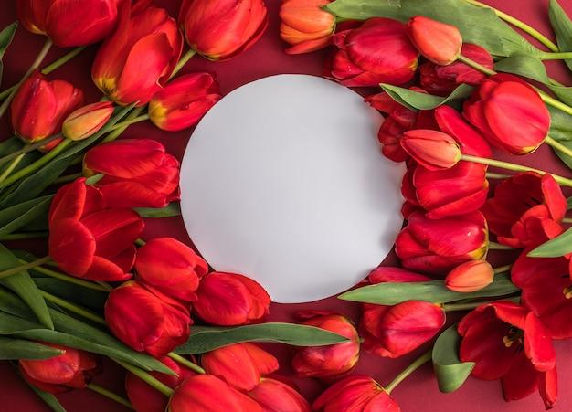 Ronde lege wenskaart mock-up scène en rode tulpen op rood oppervlak