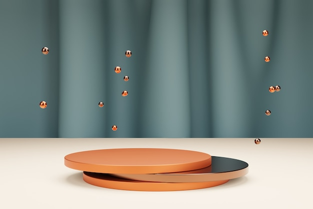 Ronde podia voor productpresentatie en metalen bubbels met textielgordijn op een achtergrond