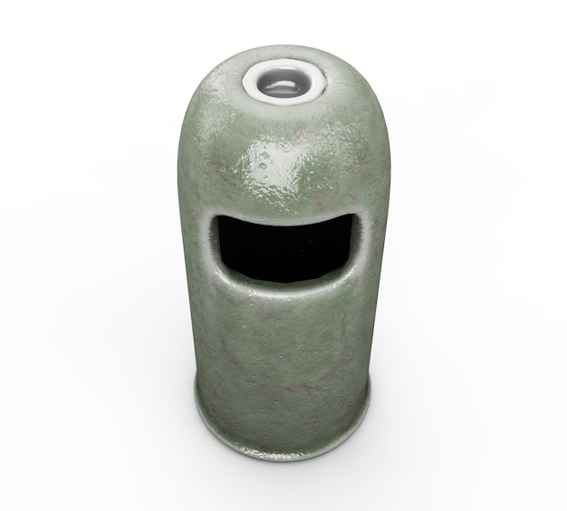 Ronde prullenbak - groene kleur, 3d render