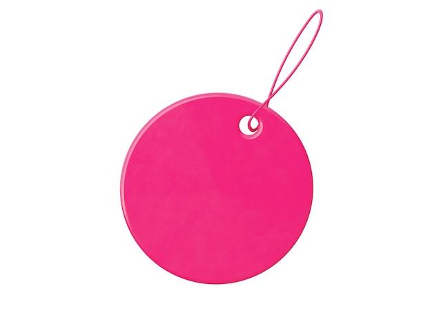 Ronde roze prijs tage geïsoleerd op witte hebben. 3d-rendering.