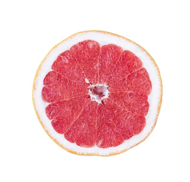 Ronde schijfje grapefruit geïsoleerd op een witte achtergrond