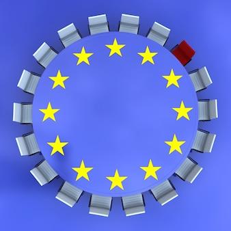 Ronde vergadertafel met het europese symbool en een rode stoel