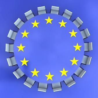 Ronde vergadertafel met het europese symbool