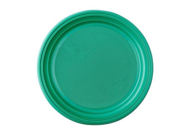 Ronde vorm wegwerp plastic borden met getextureerde bodem en gekrulde randen, geïsoleerd op een schone witte achtergrond.