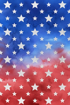 Rood blauw wit patriottische achtergrond, aquarel digitaal papier, sterpatroon