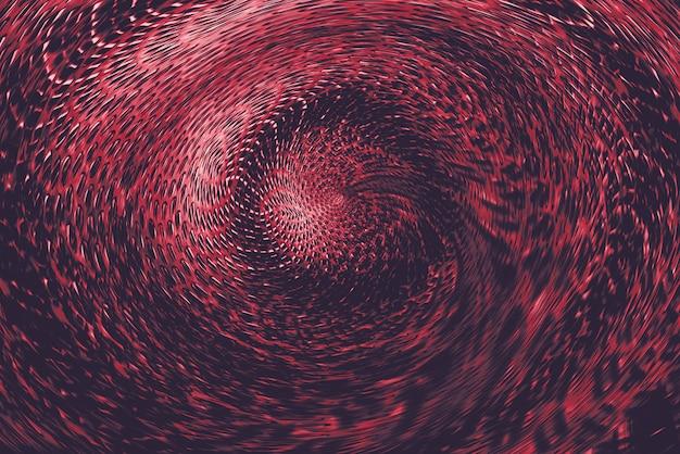 Rood bolvormig verdraaid portaal in bovennatuurlijke wereld.