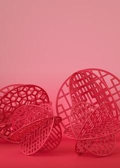 Rood chinees papier gesneden in bal vorm op roze achtergrond.