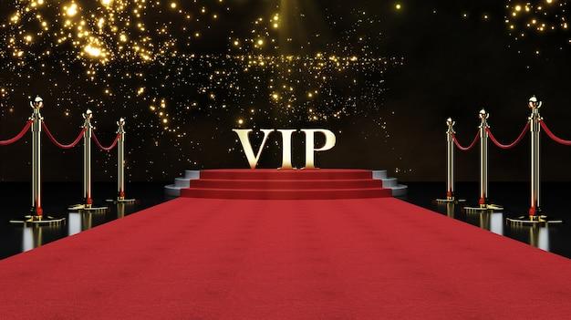 Rood evenement tapijt, trap en goud touw barrière concept van succes en triomf