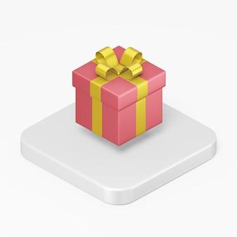 Rood geschenkpictogram met een gele strik in ui ux-element van de 3d-rendering interface