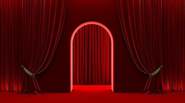 Rood gordijn, vip-deuringang, 3d boogdeur