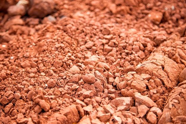 Rood grondoppervlak met drogen en scheuren