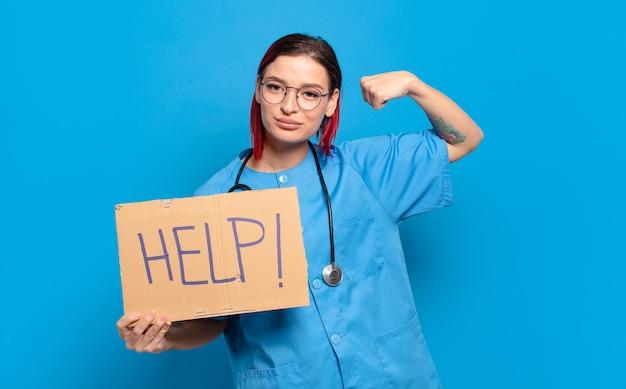 Rood haar koele verpleegstervrouw. medisch crisisconcept