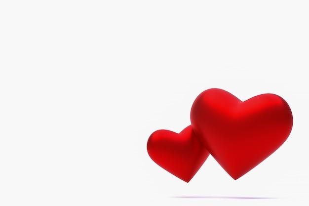 Rood hart 3d-rendering achtergrond voor valentijnsdag, rood hart op de dag van de liefde