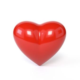 Rood hart dat op witte achtergrond wordt geïsoleerd. het symbool van romantiek, valentijnsdag. 3d illustratie.