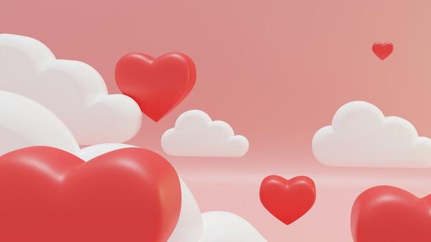 Rood hart drijven op de roze lucht.