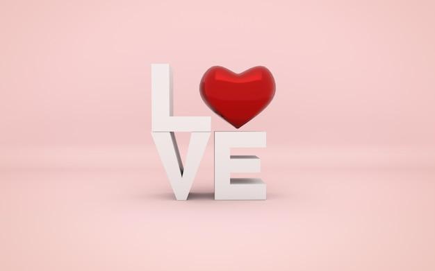 Rood hart en liefdeswoord. valentijnsdag.