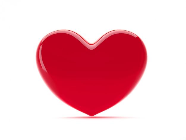 Rood hart geïsoleerd st valentijnsdag liefdesymbool. 3d-rendering.