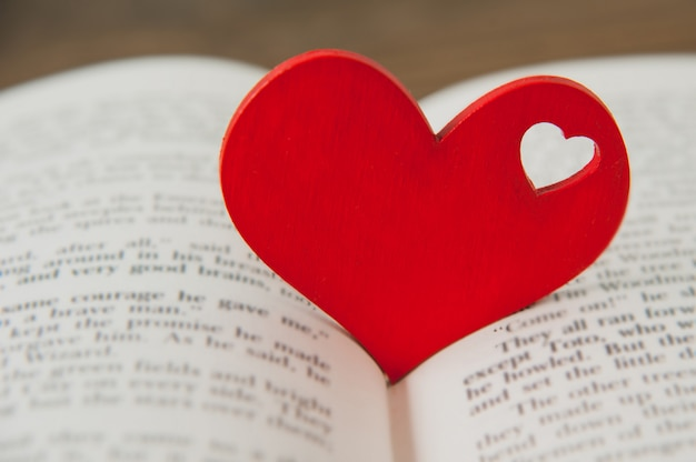 Rood hart in het boek. valentijnsdag