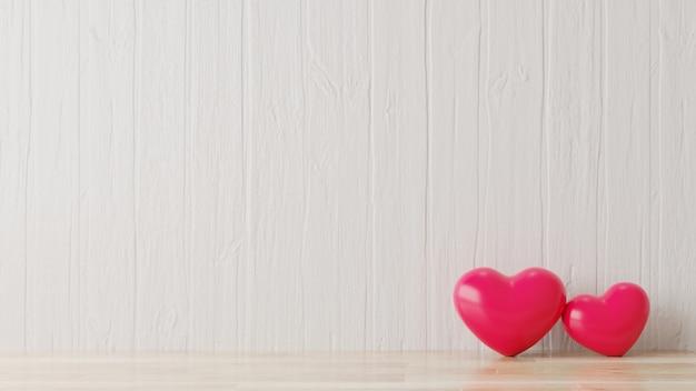 Rood hart in witte kamer.