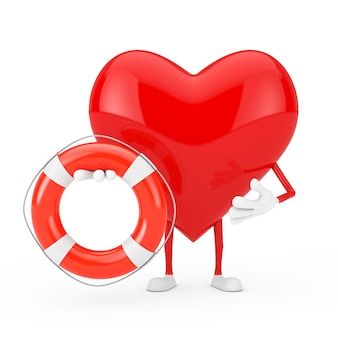 Rood hart karakter mascotte met reddingsboei op een witte achtergrond. 3d-rendering