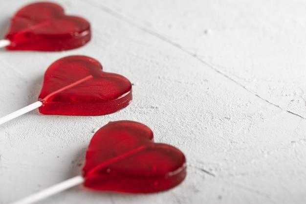 Rood hart lolly. snoep.