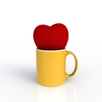 Rood hart met gele koffiekop die op witte achtergrond wordt geïsoleerd.