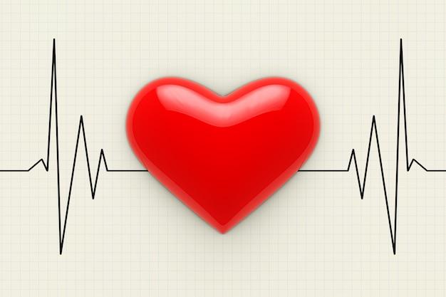 Rood hart op een cardiogram achtergrond extreme close-up. 3d-rendering.