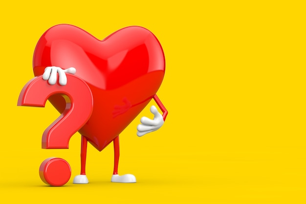 Rood hart persoon karakter mascotte met rood vraagteken teken op een gele achtergrond. 3d-rendering