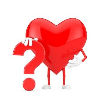Rood hart persoon karakter mascotte met rood vraagteken teken op een witte achtergrond. 3d-rendering