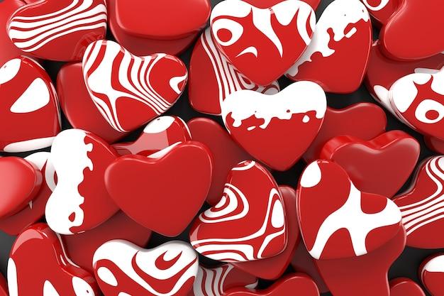 Rood hart wallpaper ontwerp. 3d-weergave.