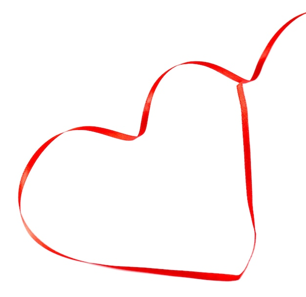 Rood hartlint dat op wit wordt geïsoleerd