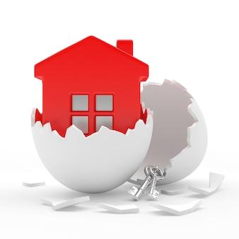 Rood huis met sleutels in witte gebroken eierschaal