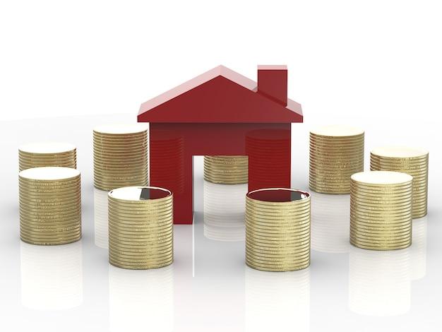 Rood huis omringd door stapel munten