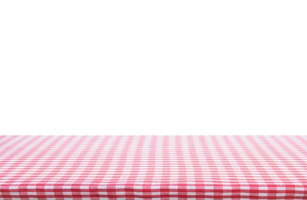 Rood klassiek geruit tafelkleed op witte achtergrond met exemplaarruimte