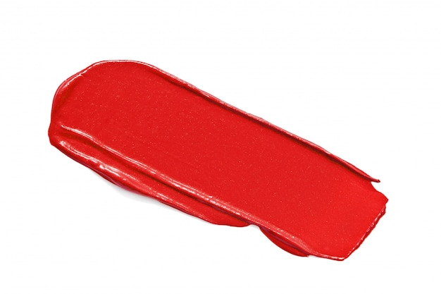 Rood lippenstiftmonster dat op wit wordt geïsoleerd